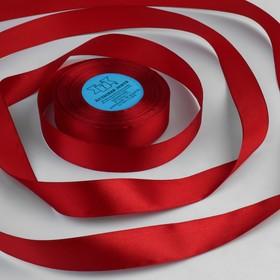 Лента атласная, 25 мм × 33 ± 2 м, цвет тёмно-красный №112