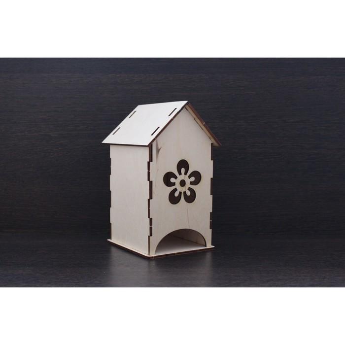 """Чайный домик из фанеры """"Цветочек"""" (набор 7 деталей) 10х17х11 см"""