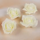 Набор цветов для декора из фоамирана, D=5 см, 4 шт, айвори