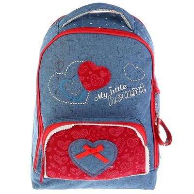 Рюкзак школьный эргономичная спинка для девочки Proff 38*28*17 Hearts, синий/красн HS17-BPA-03