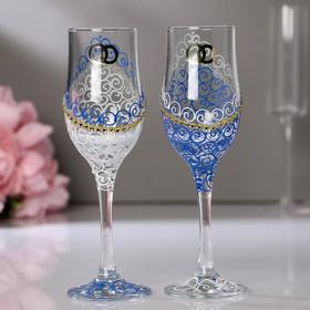 Set of wedding glasses Ring, blue and white