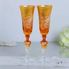 Набор свадебных бокалов «Совет да любовь», с серцем на ножке, золото