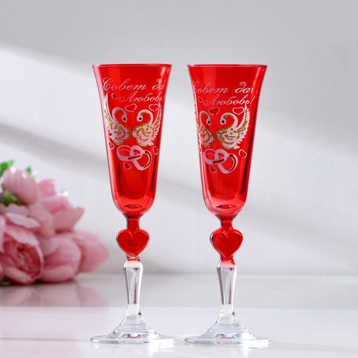 Набор свадебных бокалов «Совет да любовь», с сердцем на ножке, красный - фото 282120935