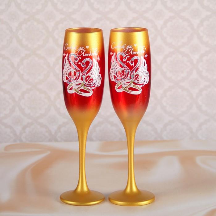 Набор свадебных бокалов  «Совет да любовь» с росписью, цвет золотой