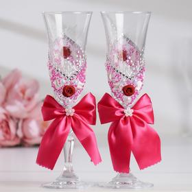 """Set of wedding glasses """"Bow"""", with mouldings and beads, crimson"""