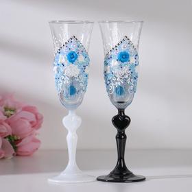 """Набор свадебных бокалов """"Грация"""", с лепниной, бисером и с сердцем на ножке,  голубой"""