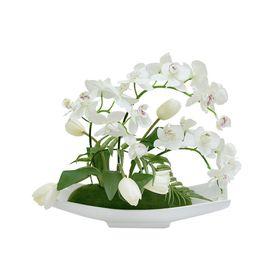 """Декоративные цветы """"Орхидея белая c тюльпанами"""", на керам подставке"""