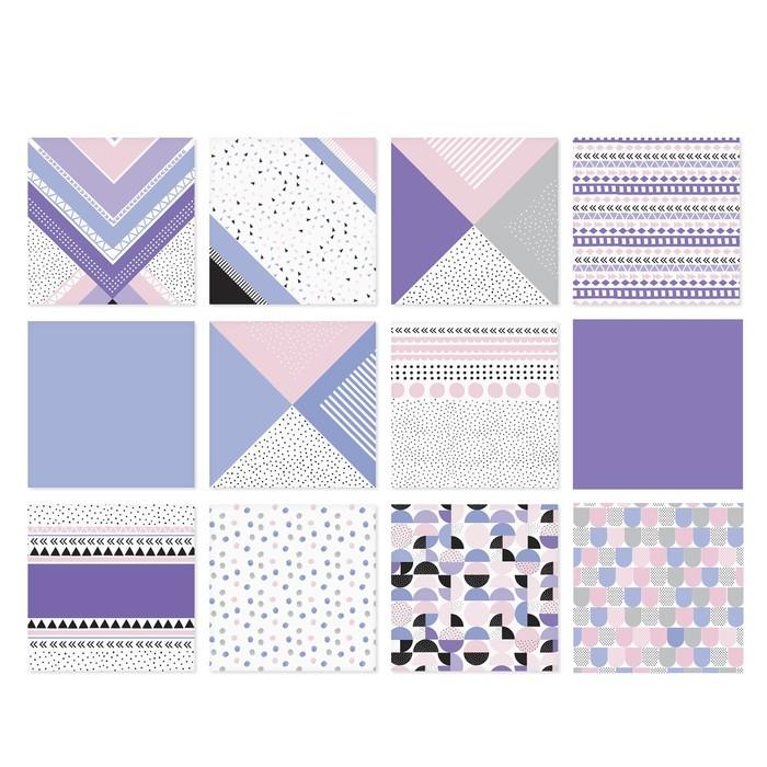 Набор бумаги для скрапбукинга «Геометрия цвета», 12 листов, 15,5 х 15,5 см - фото 370877069