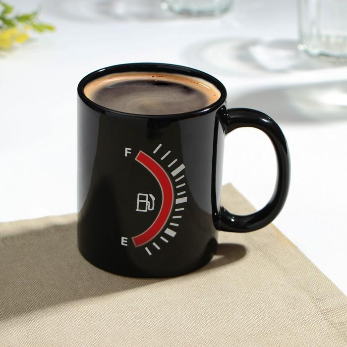 """Mug-350 ml chameleon """"fuel Level:"""", color black"""