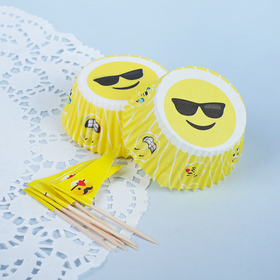 Украшение для кексов «Смайлики», набор 24 формочки, 24 шпажки