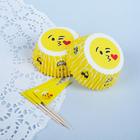 """Украшение для кексов """"Смайлик с поцелуйчиком"""", набор 24 формочки, 24 шпажки"""