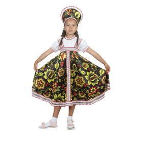 """Русский народный костюм """"Хохлома"""", платье, кокошник, цвет чёрный, р-р 30, рост 110-116 см"""