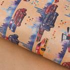 Бумага упаковочная крафтовая «Автогонки», 50 × 70 см