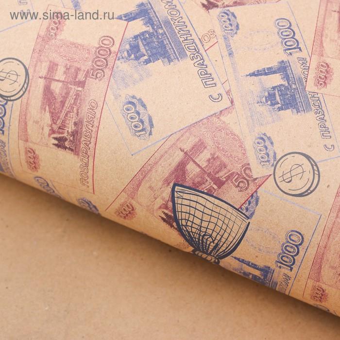 Бумага упаковочная крафтовая «Деньги», 50 × 70 см