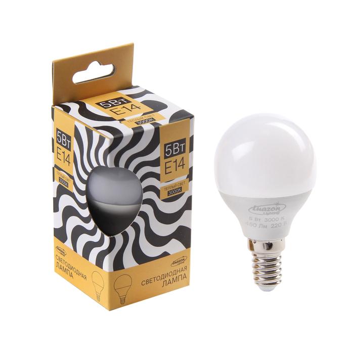 Лампа cветодиодная Luazon Lighting, G45, 5 Вт, E14, 450 Лм, 3000 K, теплый белый