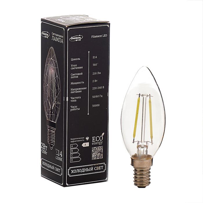 Лампа светодиодная, C37, 2 Вт, E14, 210 Лм, 4200 К, 220-240 В, холодный, прозрачная