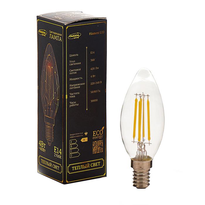 Лампа светодиодная, C37, 4 Вт, E14, 420 Лм, 2700 К, 220-240 В, теплый, прозрачная