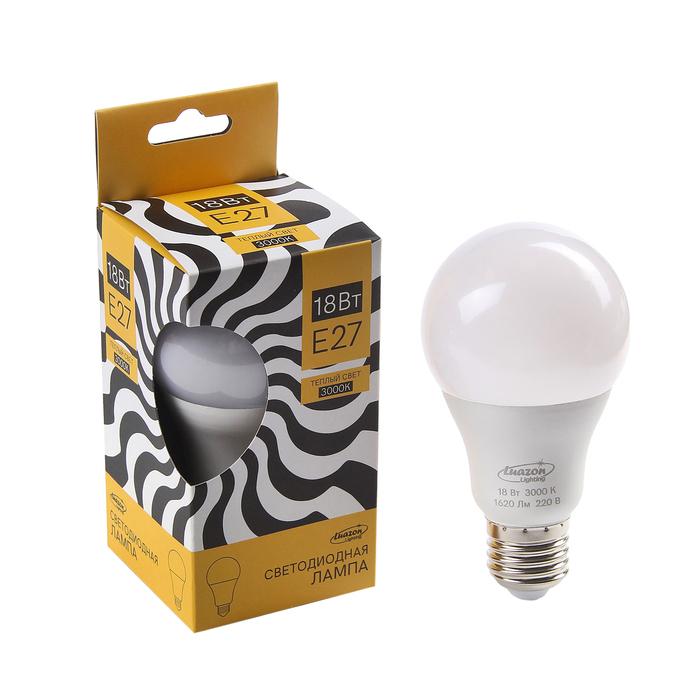 Лампа cветодиодная Luazon Lighting, A65, 18 Вт, E27, 1620 Лм, 3000 K, теплый белый