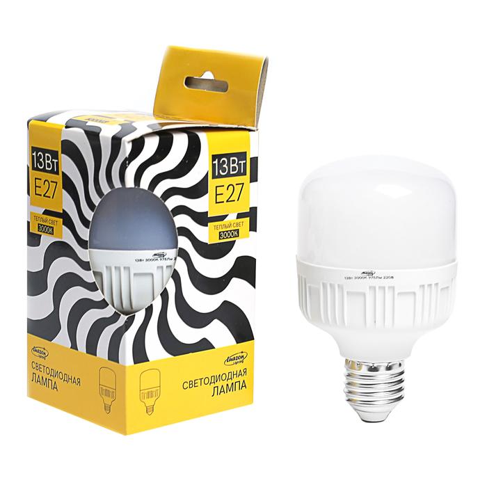 Лампа светодиодная Luazon Lighting, 13 Вт, E27, 975 Лм, 3000 К, теплый белый