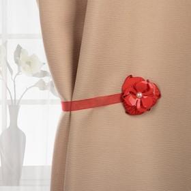 Подхват для штор «Цветок с жемчужиной», d = 6 см, цвет красный