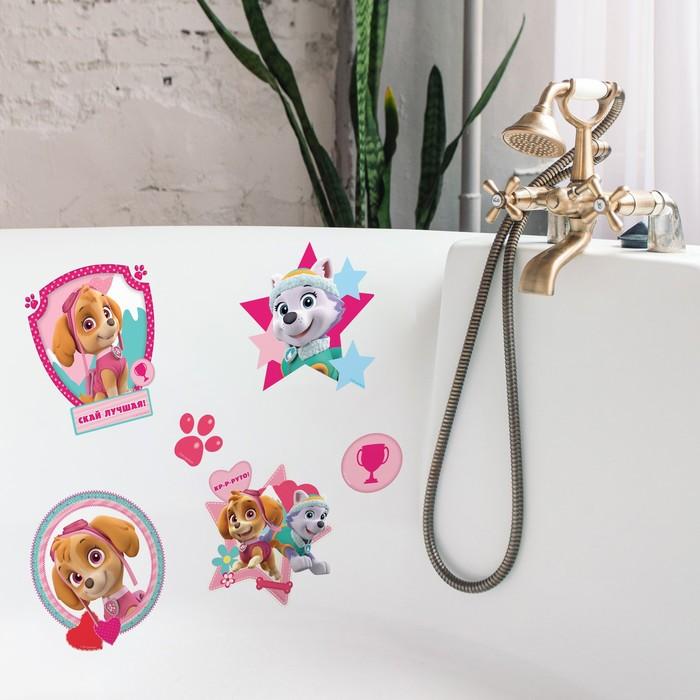 """Щенячий патруль. Наклейки детские в ванну в наборе """"Кр-р-руто"""". девочки. 50х70"""