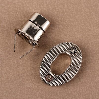 Застёжка для сумки, 3,4 × 2,6 см, цвет серебряный