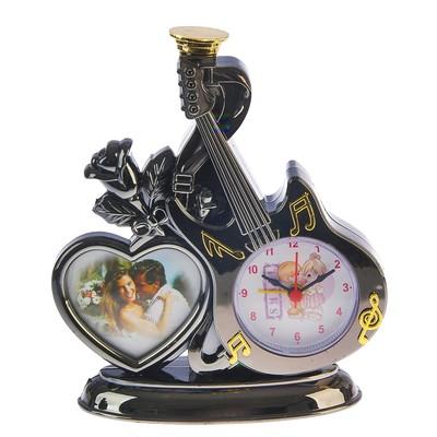 """Часы настольные """"Любовь к музыке"""", с фоторамкой, 18х16 см, микс"""