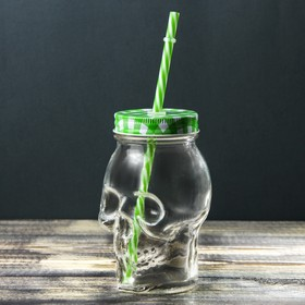 Bank 550 ml Skull, with lid and straw, MIX color