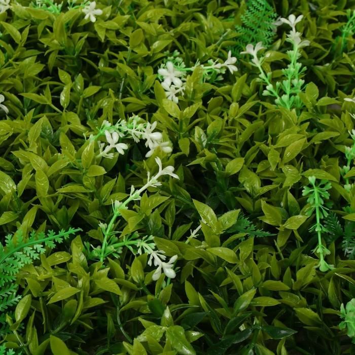 Газон-коврик искусственный, 40 х 60 см, «Белые цветы»