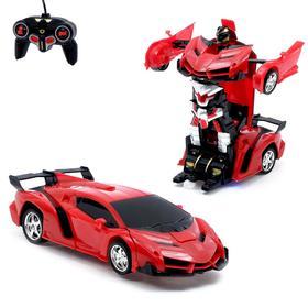 Робот-трансформер радиоуправляемый «Ламбо», трансформируется с пульта, масштаб 1:18, цвет красный
