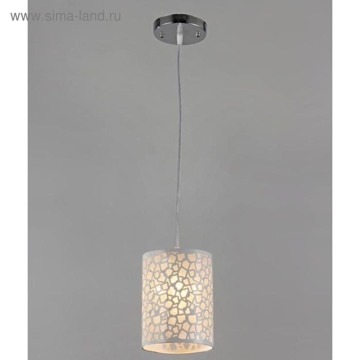 """Люстра подвесная """"Малика"""" 1 лампа E27 40Вт 15х15х80см.хром-белый"""