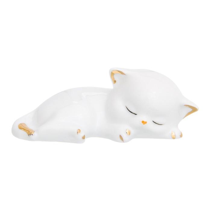 Фигурка декоративная «Котенок спящий», цвет бело-золотистый