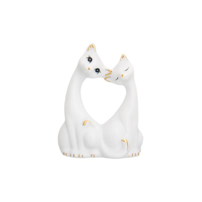 Фигурка декоративная «Пара кошечек», цвет бело-золотистый