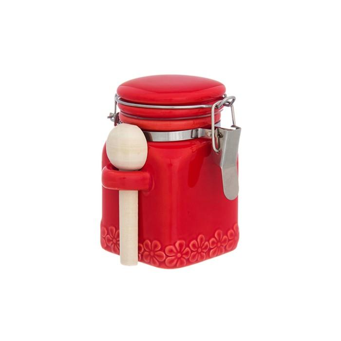 Баночка для специй «Красная с цветами», с метал зажимом, деревянная ложка, объём 160 мл