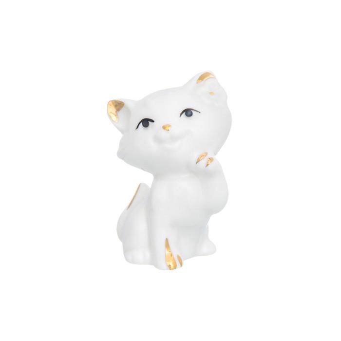 Фигурка декоративная «Кошка-мечтательница», цвет бело-золотистый