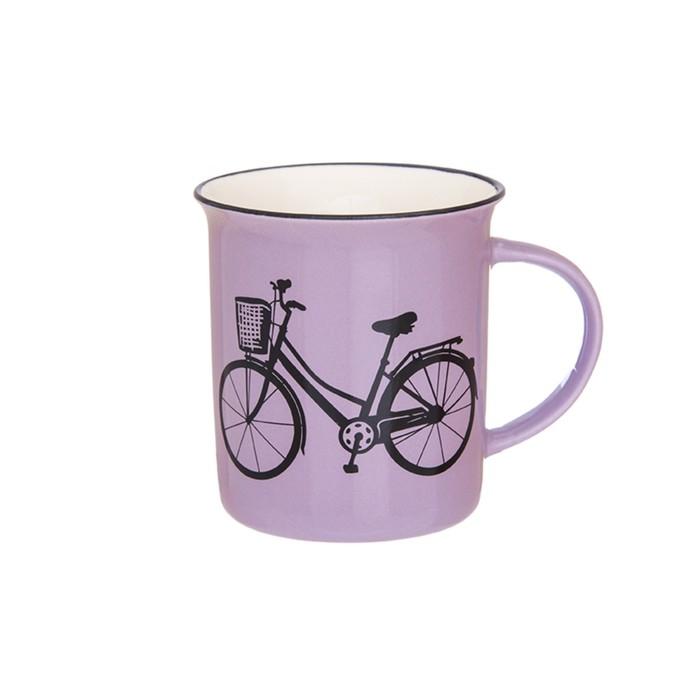 Кружка «Велосипед», объём 320 мл, цвет сиреневый
