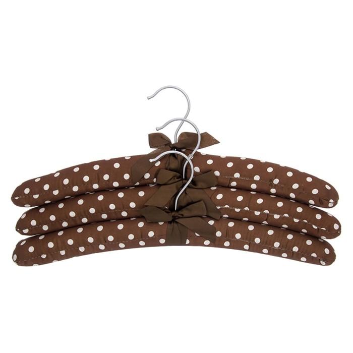 Набор вешалок «Коричневые в горошек с коричневым бантиком», 3 шт