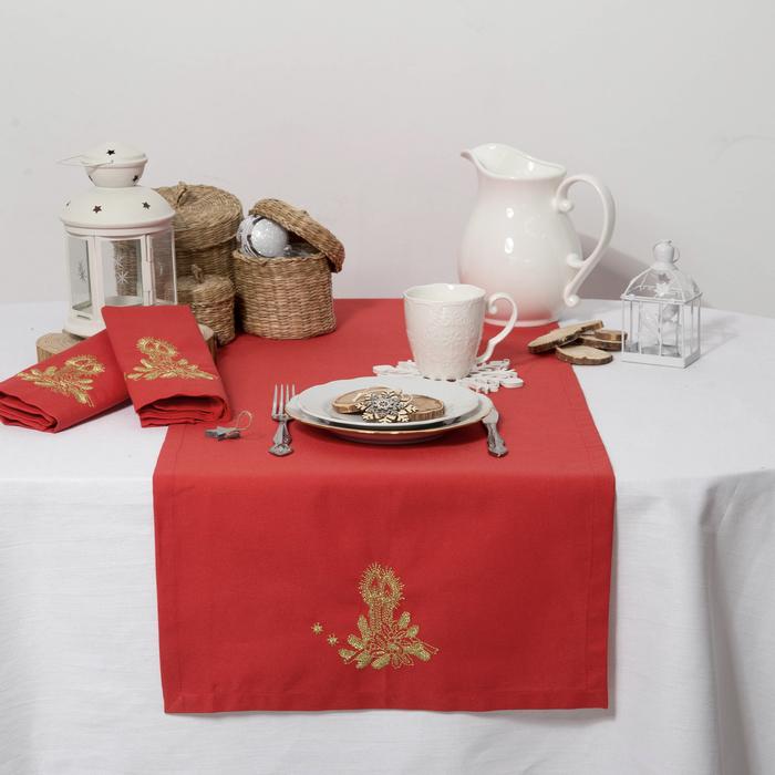 """Дорожка на стол """"Этель"""" Рождественские свечи, 140х40 цвет красный, с ВМГО хл, 200 гр/м²"""