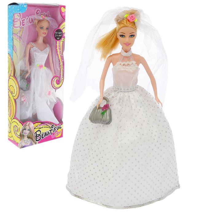 """Кукла модель """"Невеста"""" в свадебном платье, с аксессуарами, МИКС"""