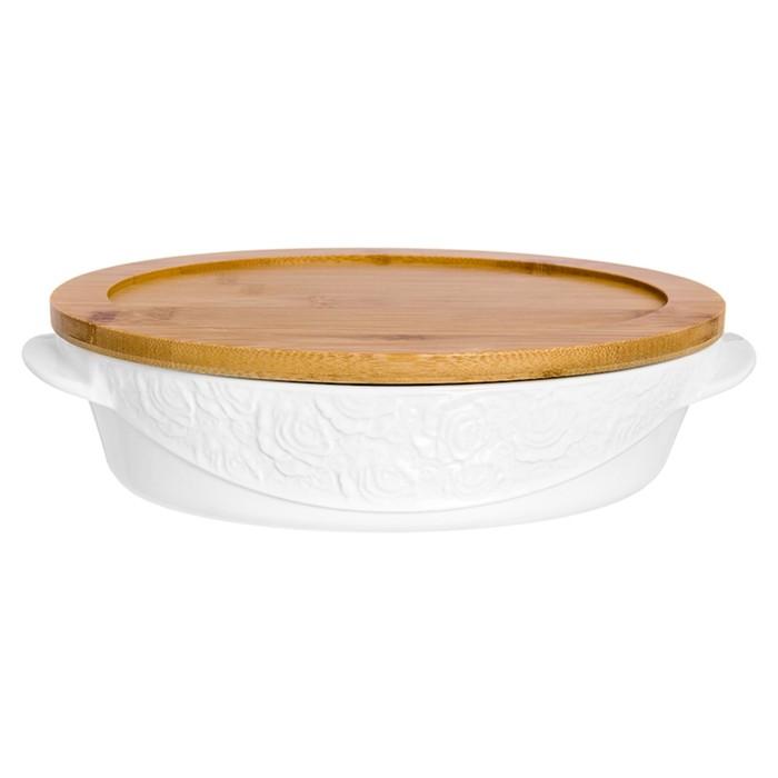 Блюдо для запекания и сервировки «Белые розы», форма овал, деревянная крышка-подставка, объём 1,6 л