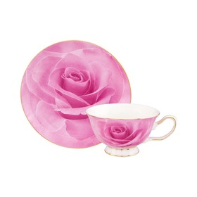Чайная пара «Розовая роза», чашка на ножке, 2 предмета, объём 200 мл