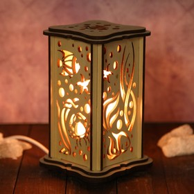 Соляной светильник из дерева 'Рыбка', малый, 15 x 10 см, деревянный декор Ош