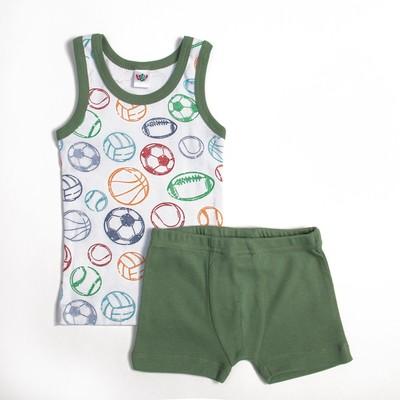 Комплект для мальчика (майка,трусы-боксеры), рост 92 см, цвет белый/зелёный 3235_М