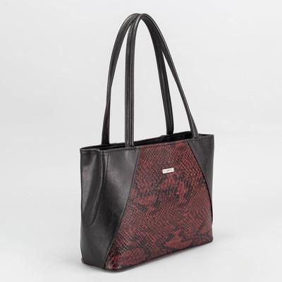 Сумка женская, отдел с перегородкой на молнии, наружный карман, кобра, цвет бордовый/чёрный