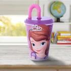 """Стакан пластиковый 430 мл """"Принцесса София"""" с соломинкой и крышкой, цвет фиолетовый"""