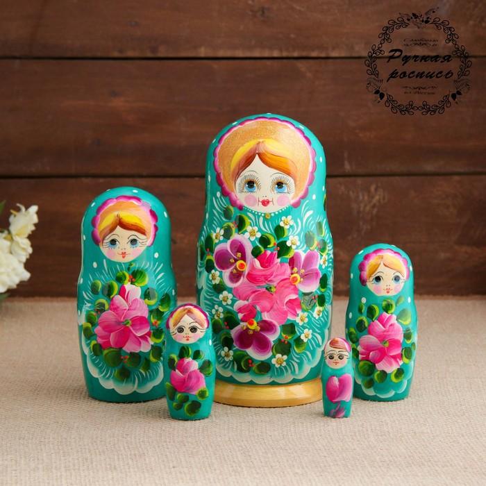 Матрёшка «Авдосья», бирюзовое платье, 5 кукольная, 18 см
