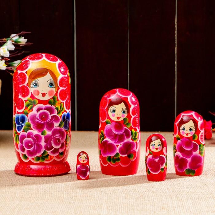 Матрёшка «Арина», красный платок, 5 кукольная, 18 см