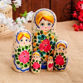 Матрёшка «Авдосья», белое платье, 5 кукольная, 18 см