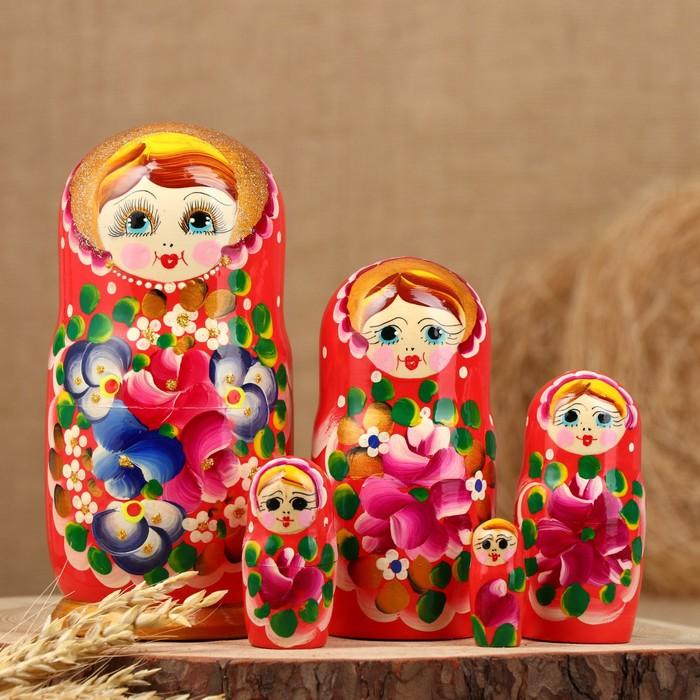 Матрёшка «Авдосья», красное платье, 5 кукольная, 18 см