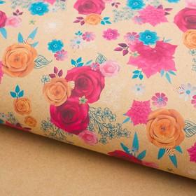Бумага упаковочная крафт 'Цветочный декор', 50 х 70 см Ош